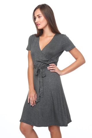 V-Neck Short Sleeve Wrap Dress With Fabric Belt