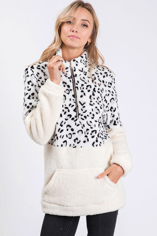 It's So Fluffy Animal Print Colorblock Top