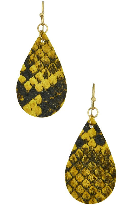 Mini Teardrop Snake Print Earrings