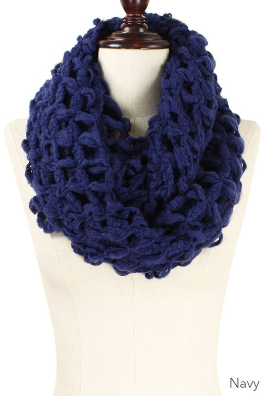 Solid Color Chunky Knit Infinity Scarf