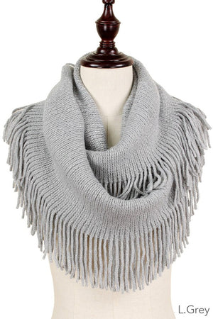 Lurex Knit Infinity Scarf with Fringe