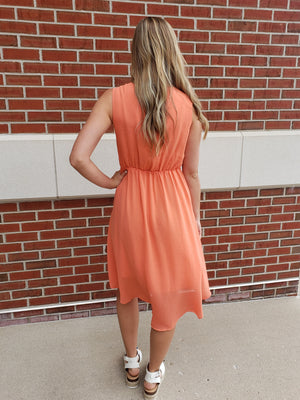 Sleeveless V-Neck Woven Dress