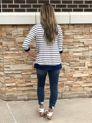 Striped 3/4 Sleeve Snap Cardigan
