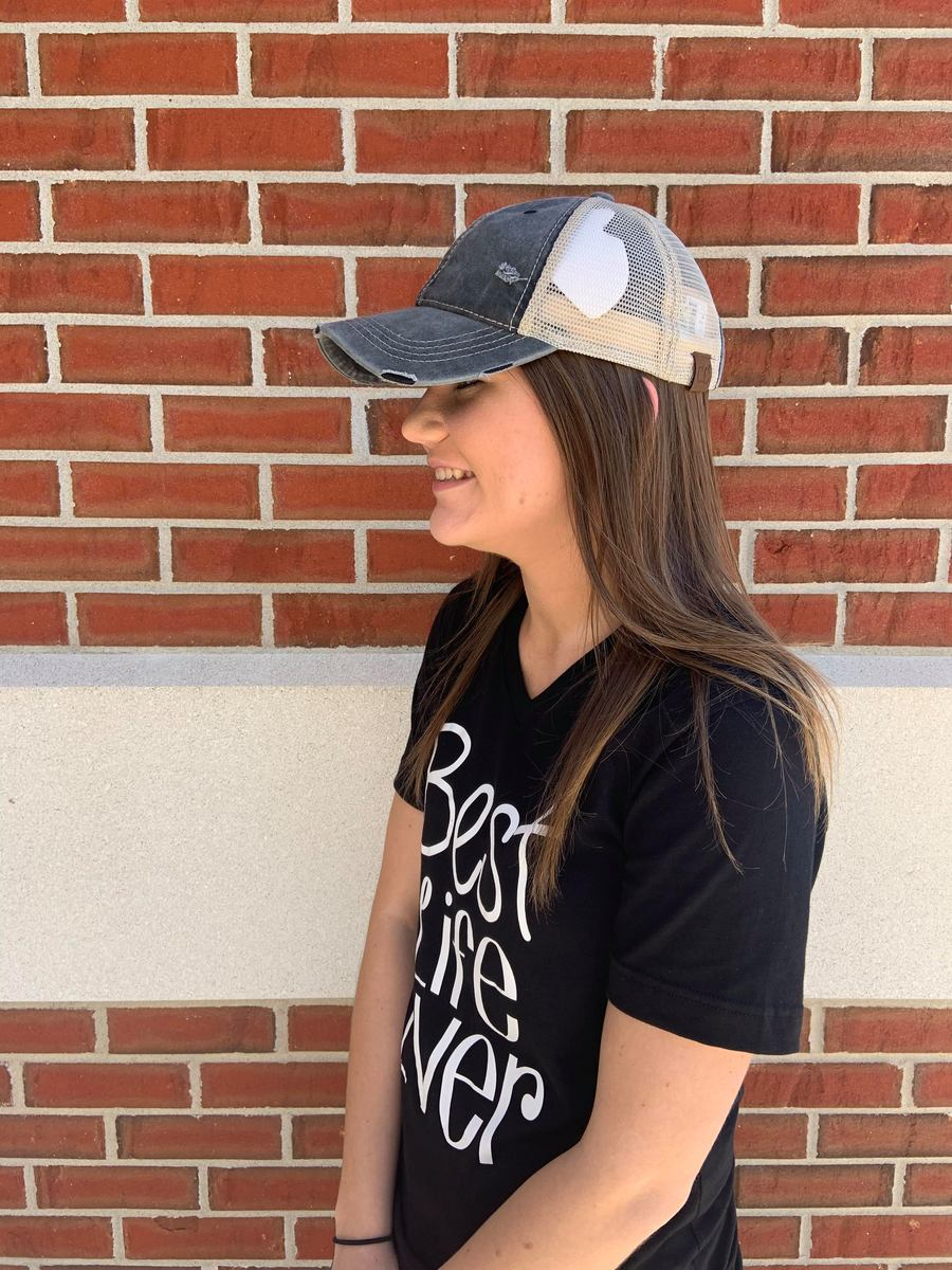 CC Distressed Charcoal High Pony Hat