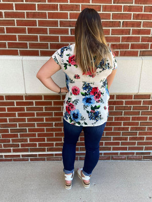 Floral Short Sleeve Round Neck Top