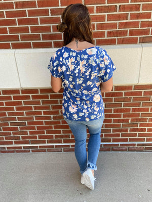 V-Neck Floral Top With Gathered Front