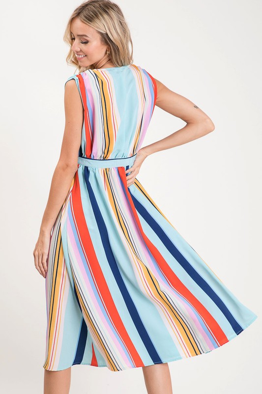 Feeling Beautiful Multi Color Striped Button Detail Dress