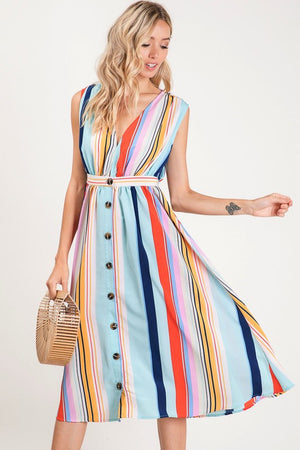 Final Sale Feeling Beautiful Multi Color Striped Button Detail Dress