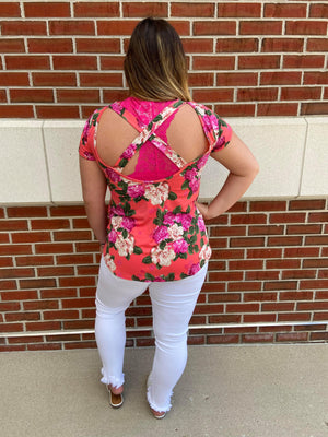 Floral Criss Cross Open Back Top