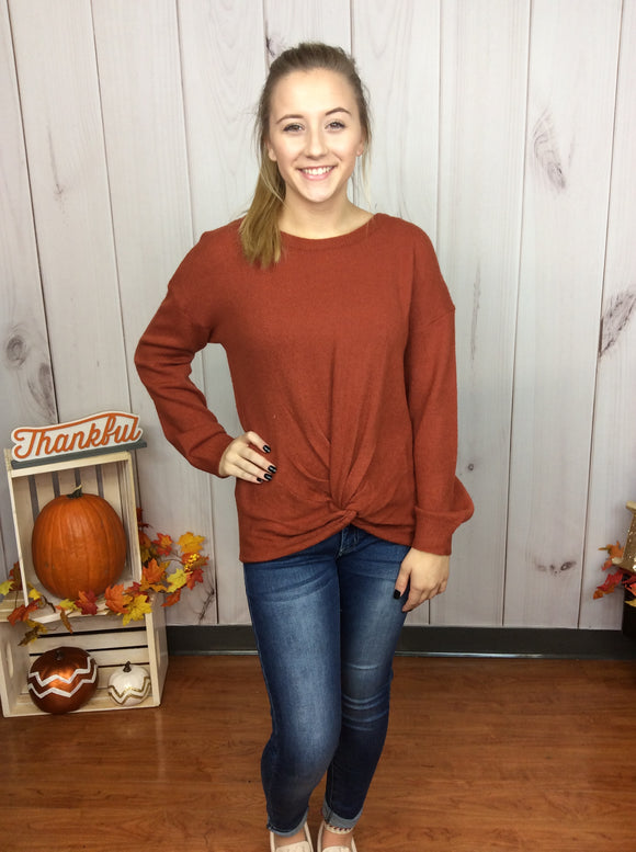 Having The Best Time Knot Front Sweater