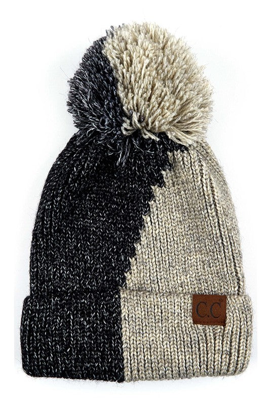 CC Dual Color Knit Beanie With Pom