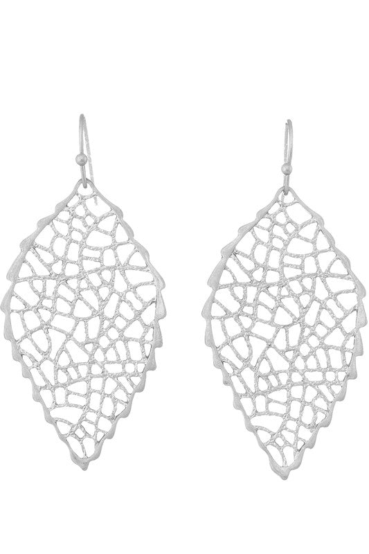 Leaf Shaped Filigree Earrings