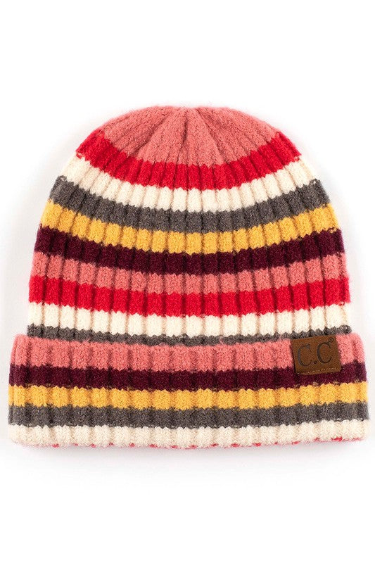 CC Multi-Color Striped Ribbed Beanie