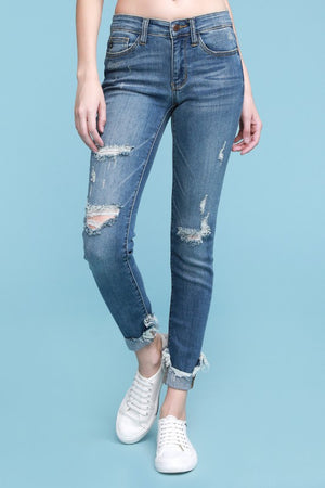 Judy Blue Skinny Jeans With Destructed Hem Detail