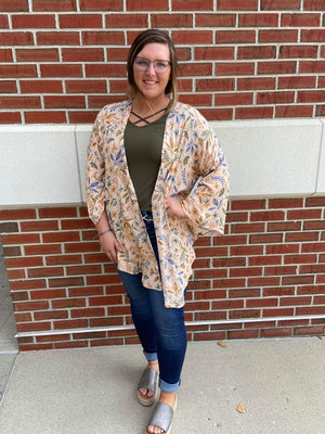 Floral Print Open Cardigan With Side Slit Detail