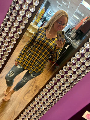 Plaid Long Sleeve V-Neck Top