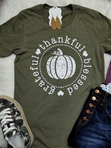 Grateful Thankful Blessed Pumpkin Graphic Tee