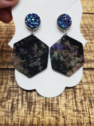 Druzy Leather Mix Printed Earrings