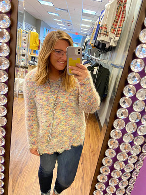 Multi-Color Confetti Sweater With Distressed Hem