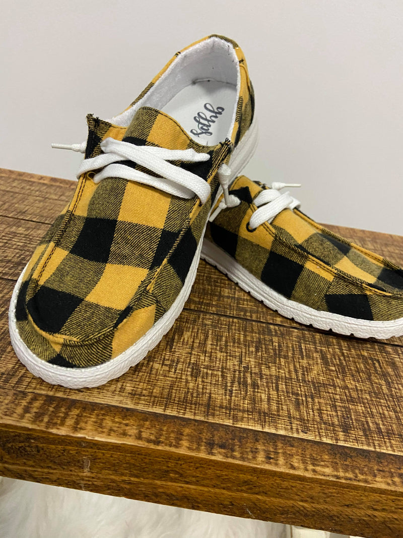Very G Plaid Heather Sneaker - Mustard