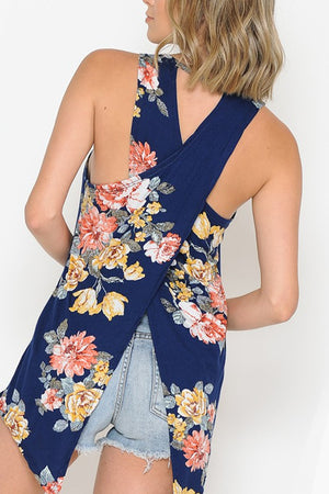Floral Cross Over Open Back Tank