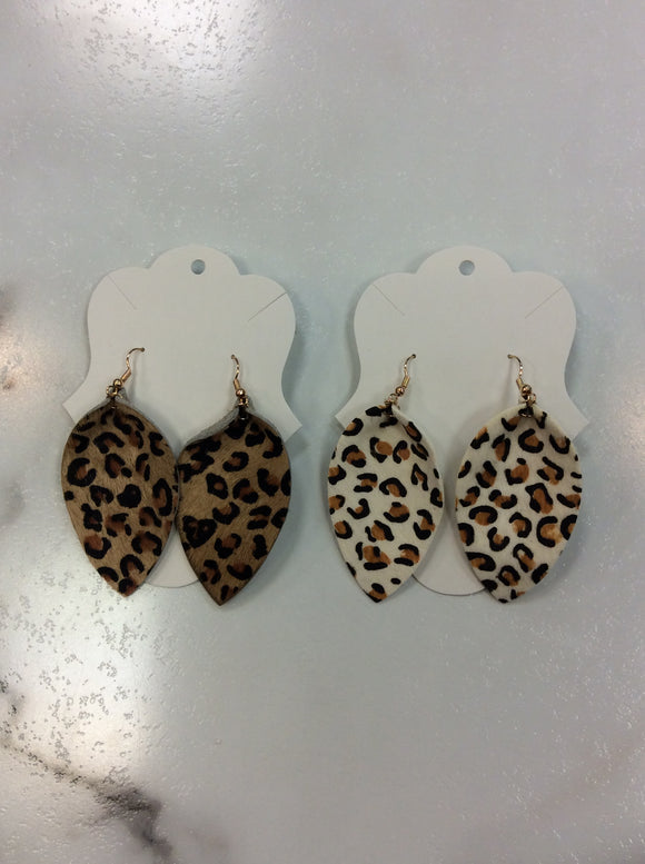 Leopard Leather Drop Earrings