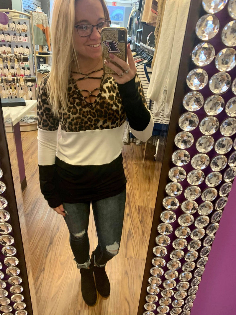 Colorblock Animal Print Top With Lace Up Detail