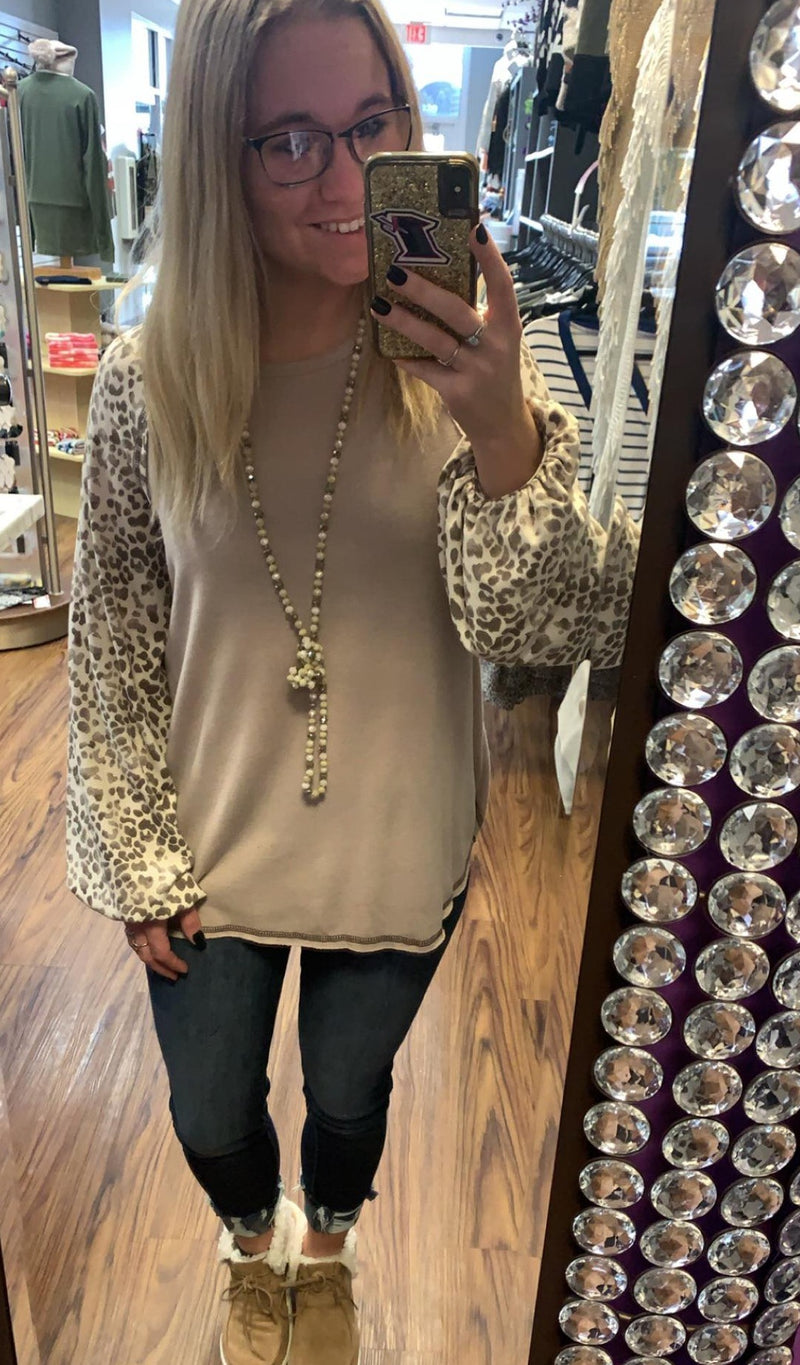 Puff Sleeve Animal Print Top