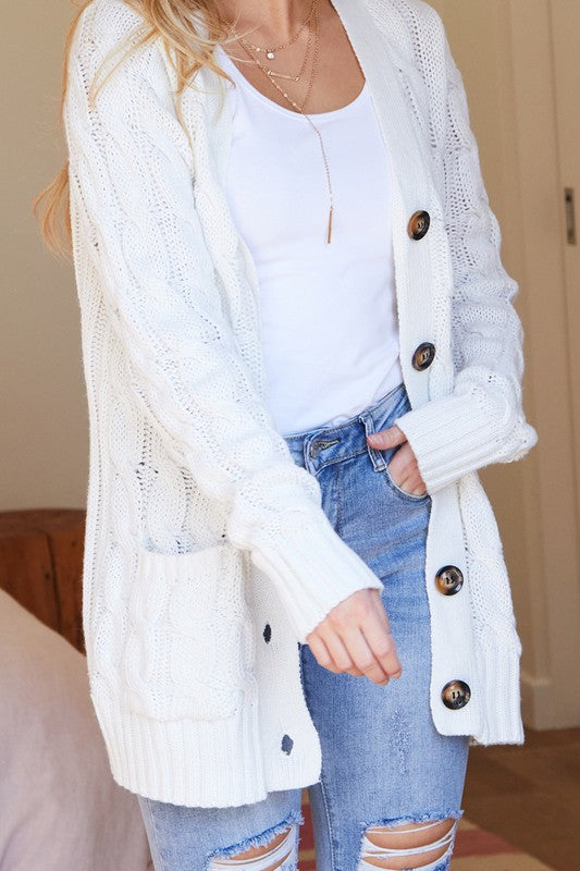 Cable Knit Button Up Cardigan