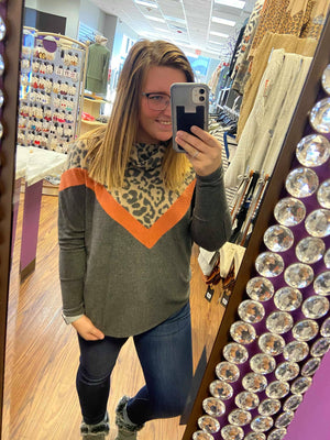 Super Soft Cowl Neck Top With Animal Print and Chevron Detal