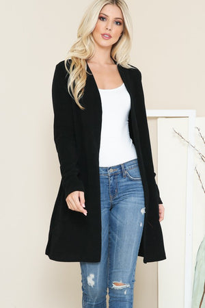 Long  Open Cardigan With Front Pockets