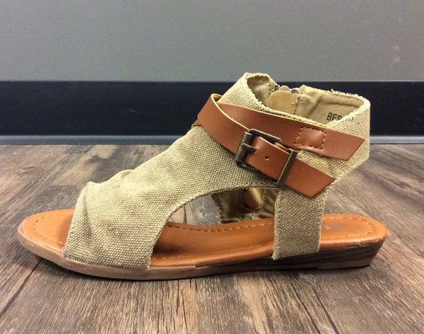 Side Cutout Wedge Sandals
