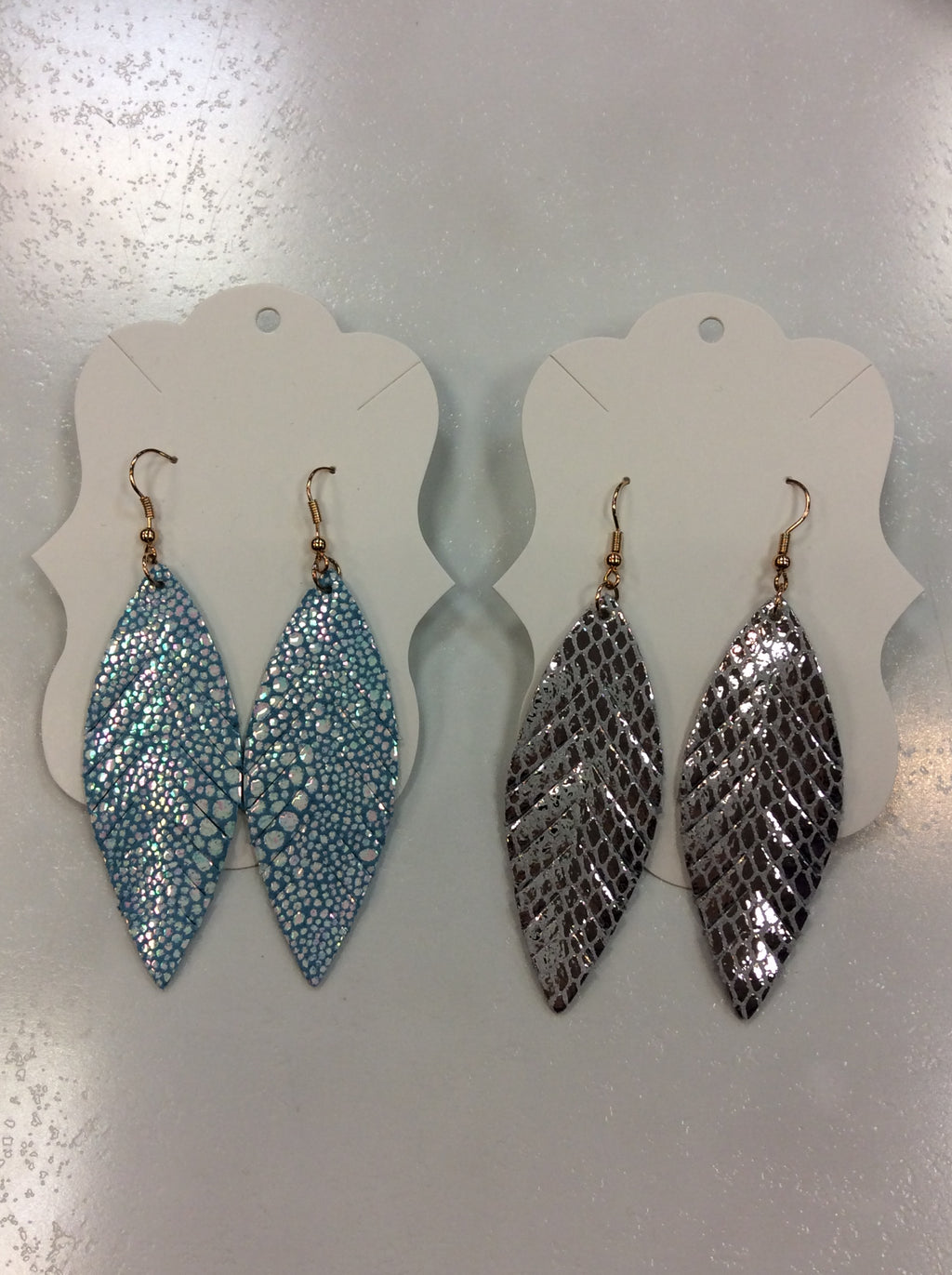 Fringed Marquise Spotted Leather Earrings
