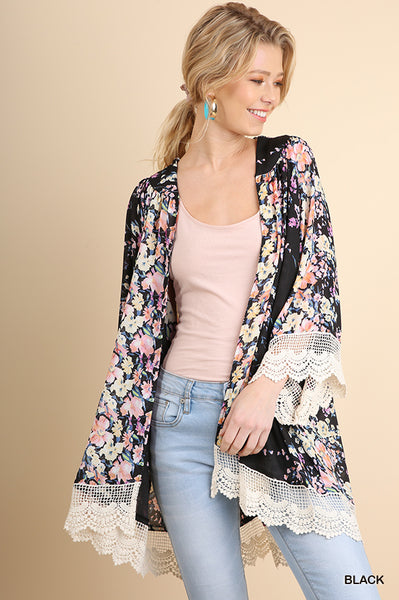 Open Front Flower Bomb Kimono with Lace Trim