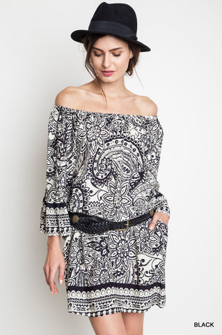 Paisley Off The Shoulder Day Dress