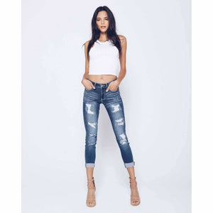 Kan Can Slim Distressed Jeans