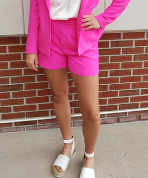 Ultra Pink Elastic Back Shorts