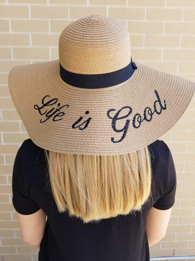 Life is Good Embroidered Floppy Sun Hat