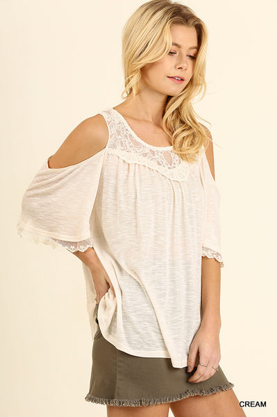 Cold Shoulder Top with Lace Details