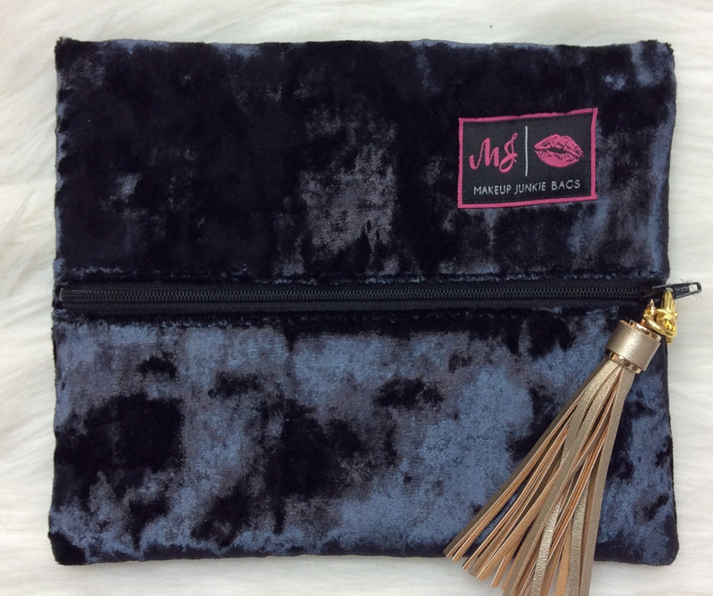 """Navy Velvet"" Makeup Junkie Bag - Small"