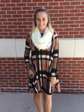 Long Sleeve Plaid Sweater Dress with Hidden Pockets