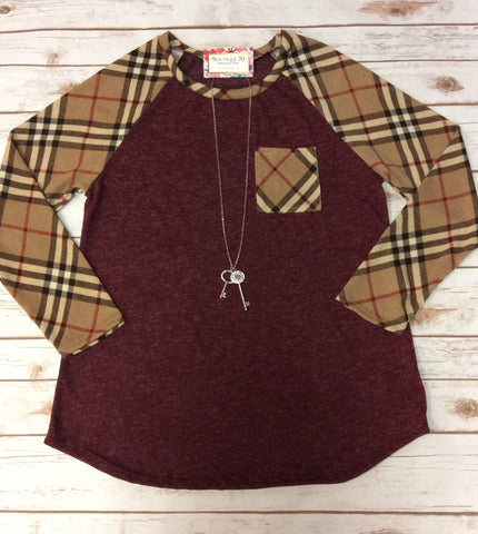 Plaid Long Sleeve & Front Pocket Top