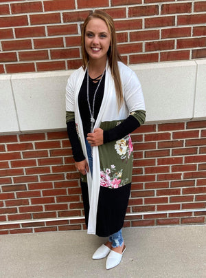 Floral Color Block Long Cardigan