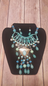 Tiered Beaded Faux Gem Necklace Set