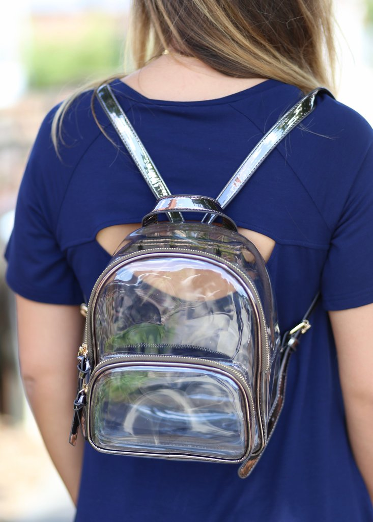 Metallic Trimmed Clear Backpack