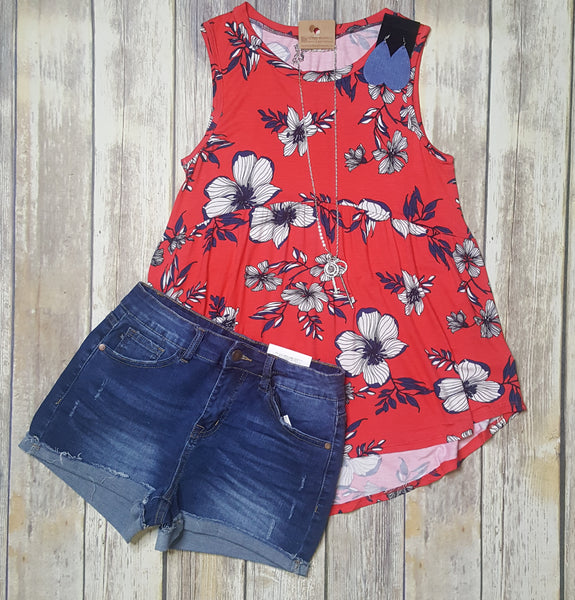 Sleeveless Floral Print High Low Tank Top