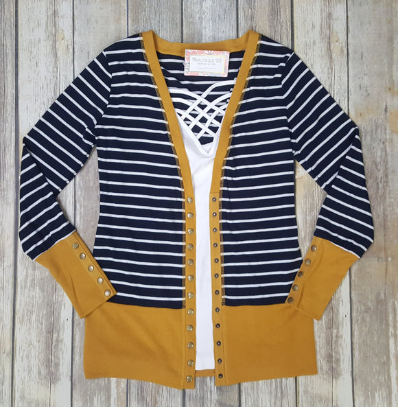 Gotta Have It Snap Detail Cardigan - Navy Stripes
