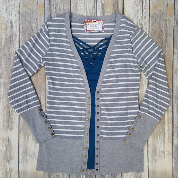Gotta Have It Snap Detail Cardigan - Grey Stripes