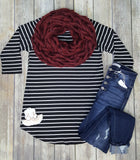 Show Me Off Striped Raglan 3/4 Sleeve