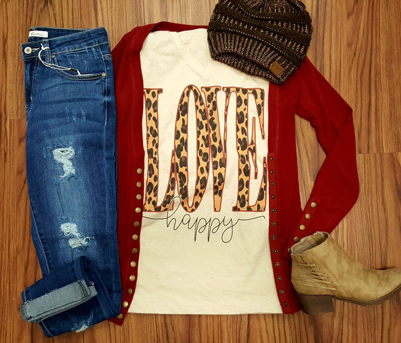 Leopard Love Happy Printed V-Neck Tee